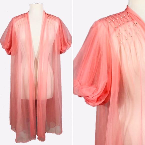 Vintage Other - 🔖SOLD🔖 Vintage Pink Sheer Boudoir Jacket
